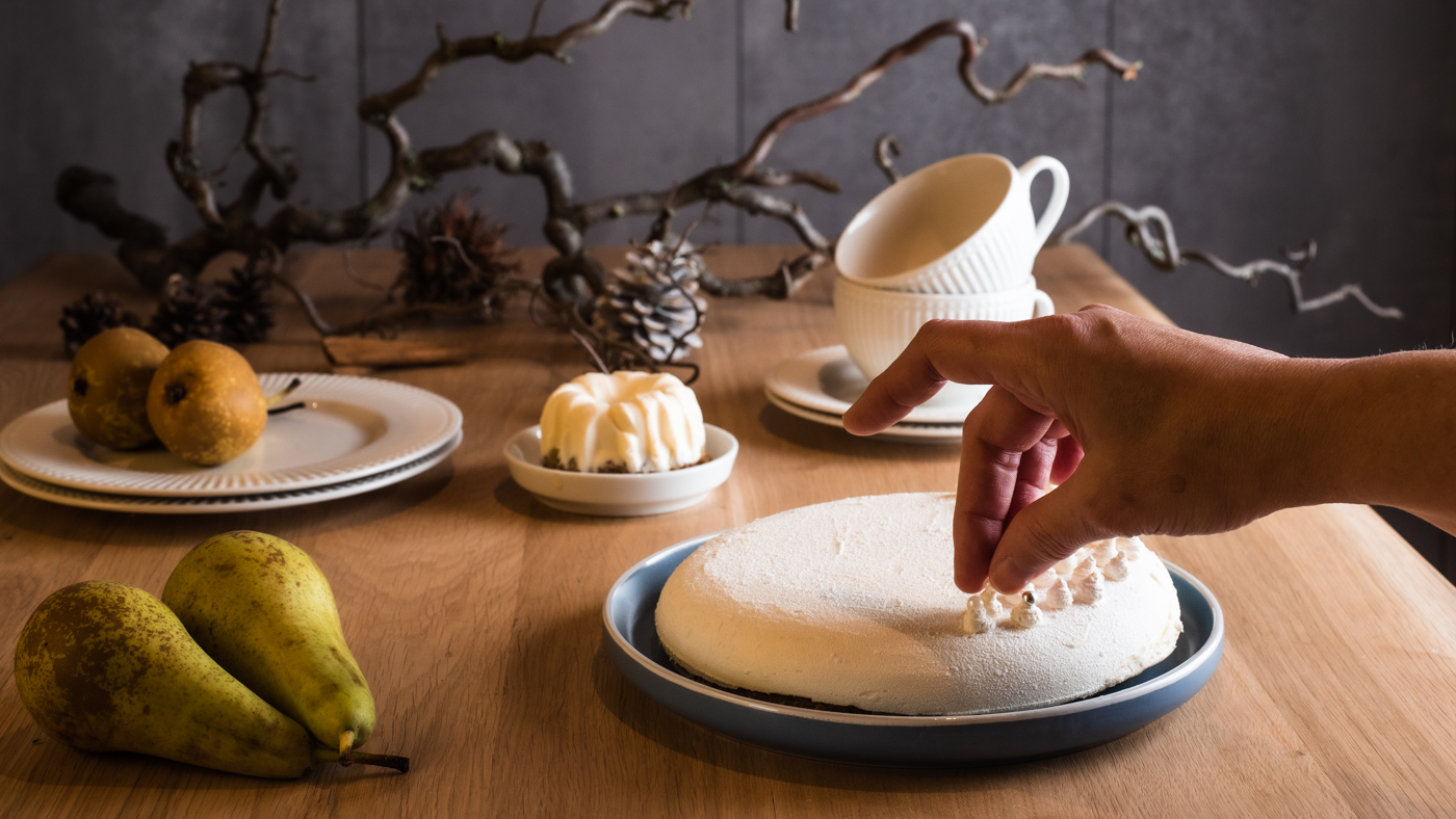 Birnen-Cheesecake mit Spekulatiusboden