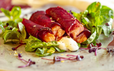 Rote Beete Cannelloni mit Lachs