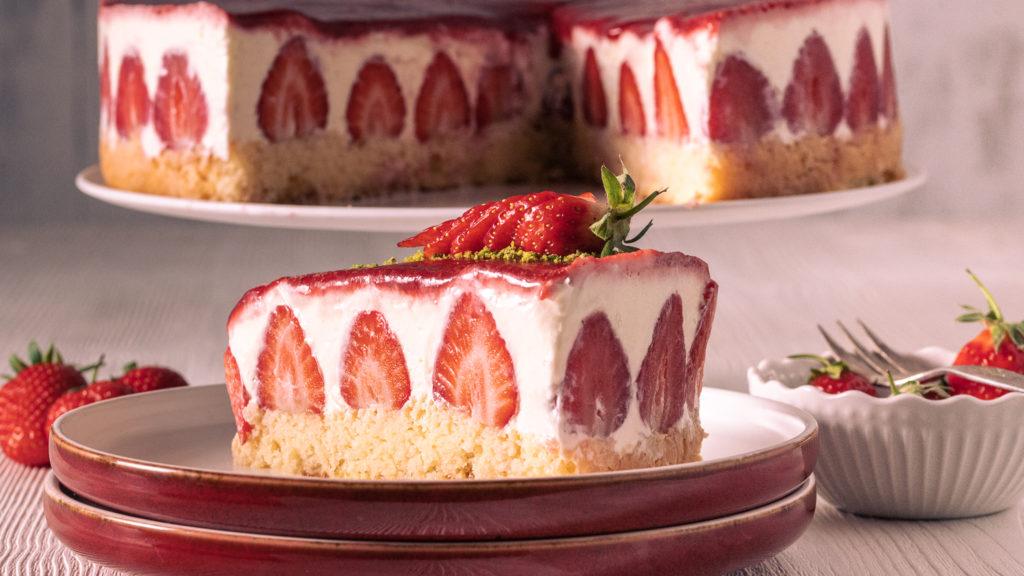 Erdbeer Sahnetorte ohne Gelatine